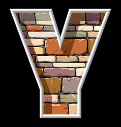 Stone letter y vector