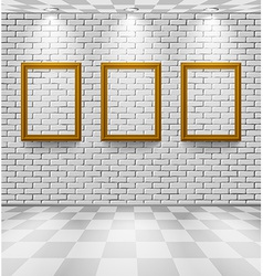 Brick room with frames vector