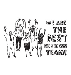 Best business team happy workers black and white vector