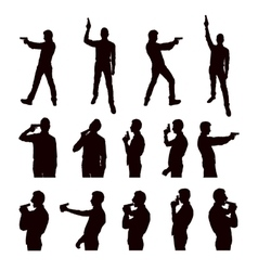 Silhouettes of person with the gun vector
