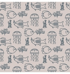 Seamless pattern with jellyfish and fishs vector