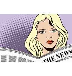 People in retro style girl reading the newspaper vector