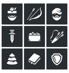 Set of robin hood icons archer bow and vector