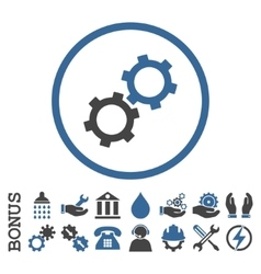 Gears flat rounded icon with bonus vector