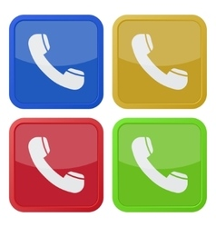 Set of four square icons with telephone handset vector