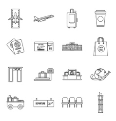 Airport icons set outline style vector image