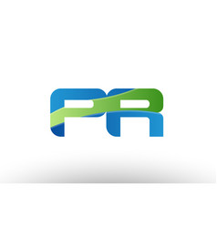 Blue green pr p r alphabet letter logo vector