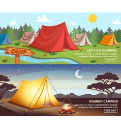 Camping Horizontal Banners vector image vector image