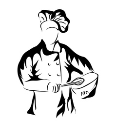 Chef holding a bowl vector
