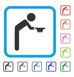 Child beggar framed icon vector