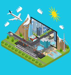 city on a laptop concept isometric view vector image vector image