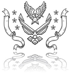 Doodle us military insignia airforce modern vector