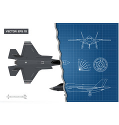 drawing of military aircraft industrial blueprint vector image