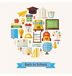 Flat Style Back to School and Education Objects vector image vector image