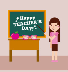 happy teacher day card girl chalkboard and desk vector image vector image