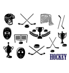 Ice hockey icons with caption hockey vector