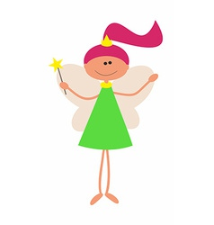Little Cute Fairy with Magic Wand arniva vector image