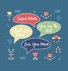 mothers day card flowers and speech bubbles vector image vector image