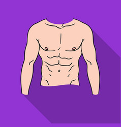 Muscular torso icon in flat style isolated on vector