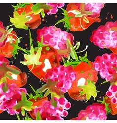 pattern of watercolor strawberry and raspberry vector image vector image