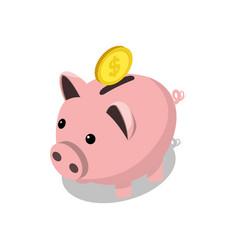 piggy bank and gold coin isometric vector image