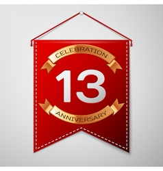 Red pennant with inscription thirteen years vector