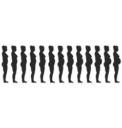 set silhouette of a pregnant female women vector image