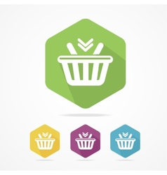 Shopping basket icon set flat vector image vector image