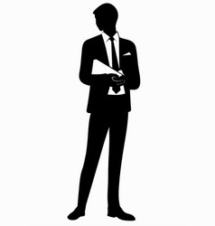 silhouette of business man in tie vector image vector image