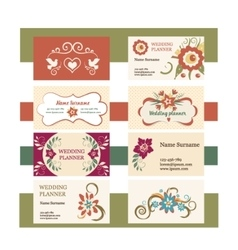 template of vintage business cards with vector image vector image
