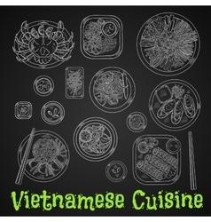 Vietnamese dinner chalk sketch on blackboard vector
