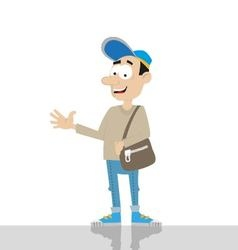 young man with bag vector image vector image