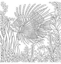 Zentangle stylized cartoon zebrafish vector image