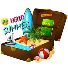 Summer theme with suitcase and ocean vector