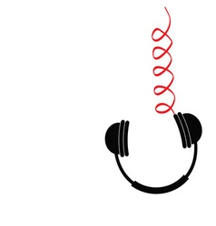 Hanging black headphones with red spring cord vector
