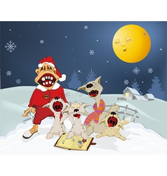 Cats and santa claus sing christmas hymns vector