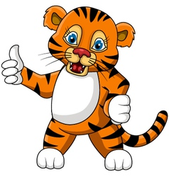 cute young tiger cartoon expression vector image