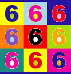 number 6 sign design template element  pop vector image