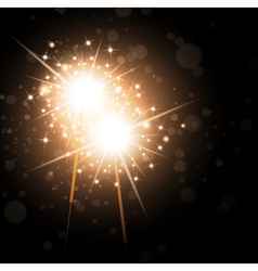 Sparklers over night background vector