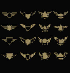 Set of winged emblems in golden style design vector