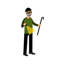 Professional masked burglar character with a vector