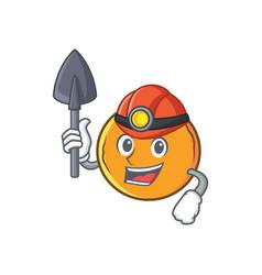 Miner orange fruit cartoon character vector