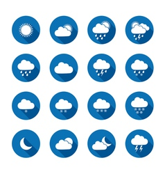 Long shadow style weather icons vector