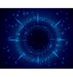 abstract dark blue music background with notes vector image