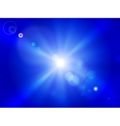 Sun on blue sky vector