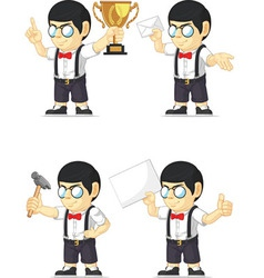 Nerd boy customizable mascot 2 vector