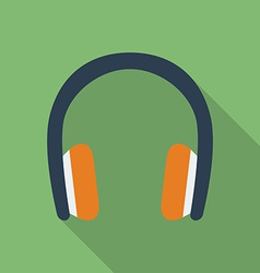 Headphones icon modern flat style with a long vector
