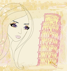 Beauty travel girl in italy vector