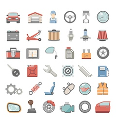 Flat icons car maintenance vector
