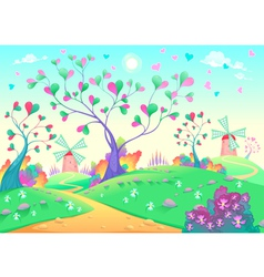 Springy landscape with windmills vector
